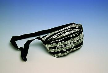 10 oz canvas construction; zipper closure; nylon belt.  9 1/2 X 6
