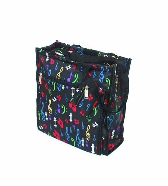 "Quality construction with full-feature 12""w x 12"" H x 4"" side gusset; 12"" Black nylon handles; zippered 10""W x 8.5"" H out-side pocket. Fully lined interior with 5.5"" x 4"" zippered interior pocket; full zipper top closure and top velcro fast-close feature."