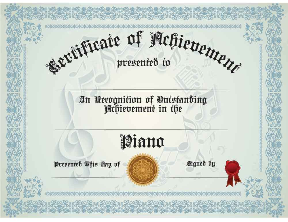 Buy Piano Achievement Certificate | Awards - Trophies ...