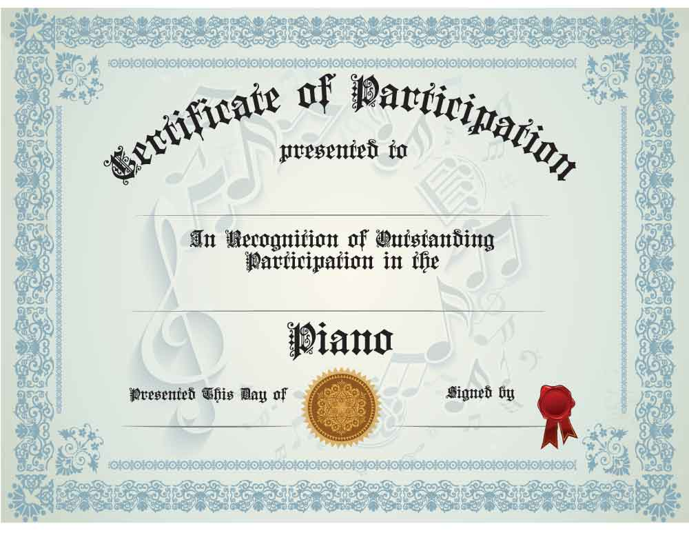 Buy Piano Participation Certificate | Awards - Trophies | Music ...