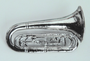 """MARCHING TUBA Silver plated; 2.75""""L; Bayonet Pin closure"""