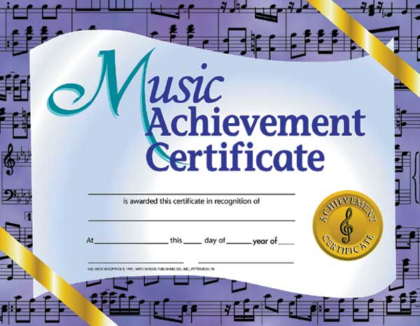 Buy Music Achievement Certificate | Awards - Trophies | Music ...