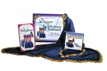 """Basic Belly Dance Kit Includes Basic Dance Video (approx. 45 min.) ; Sensual Art of Belly dance Basic Rhythms CD (approx. 35 min.) and Belly dance Hip Scarf; imported handmade scarf; measuring 50"""" x 30"""" x 30""""; 100% polyester blue chiffon lined with dime-s"""