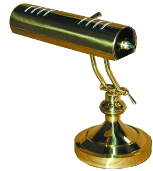 100% Solid brass lacquered for lasting beauty. 10 inch  8-way adjustable; fully vented shade. Six inch felted base. Solid brass arm is fully dual adjustable for optimum direction of light with 270 degree adjustable range.  Uses two 60W T-type bulbs.