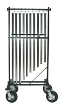 "10 CHIME STAND  5"" chrome plated casters (shown with 8"" pneumatic tires) Instrument not included. Allows you to carry on field only the notes needed in an extremely strong welded steel frame. Chimes are held rigid while moving. A diagonal brace is added t"