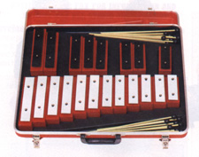 1-1/2 chromatic octaves beginning with Middle C.  The bars are made of high alloy bell steel.  Complete in a beautiful vacuum-formed polyvinyl case with removable top which enables the bells to be played in or out of the case. Extremely lightweight. 20 ma