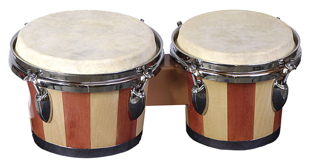 "Hand made; highest quality Custom Percussion.  Tunable bongos.  Professional quality; heavy duty; cast rims and heavy duty natural skin heads.  6"" and 7"" heads and 6"" high"