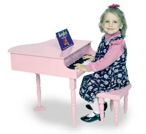 Dexton Kiddy Key Baby Grand Kids Toy Piano -WHITE; or PINK. Dexton's finely crafted kids toy piano with 30 keys; two and one half octave span; chromatically tuned. Includes color coded music book; number color key guide; wooden music book rack. INCLUD