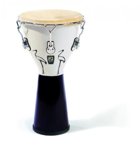 "10"" AFRICAN DJEMBE The Sonor djembe has the same lightweight hardware as the African Kpanlogo which makes it perfect for playing while standing. The design features motifs adapted from the kpanlogo. bird design; black/white"