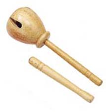 "10"" long; natural finish.   Hand-carved hard-wood  top with beater. Produced unique ""clicking sound. Great for early elementary education activities."