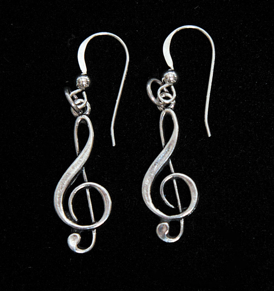 Treble Clef Sterling Silver Earrings Music Jewelry Earring
