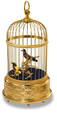 """Antique look bird cage; two birds; antique rose velvet. Birds are painstakingly features by hand. 6.375"""" Dia. X 12"""" H"""