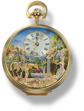 Animated Musical Mechanical Pocket Watch. Gold-plated (10 Microns) over solid-brass; 18-jewel mechanical shock absorbent watch movement and alarm function.  The lady pumps the water; the water flows; the horseman raises and lowers his hand in which he hol