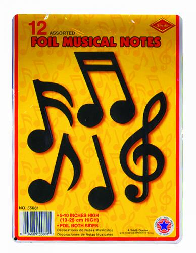 "12 assorted foil musical notes. Great for mobiles or cork board. 5""-10"" H"
