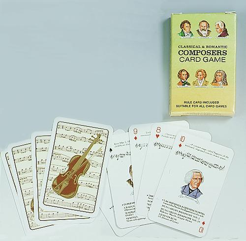 Fun & educational. Standard 52 card deck features 13 world famous composers; four different cards for each one.  Win by gathering set of four before your opponents. Portraits; facts; and a list of famous compositions on each card. The deck can also be us