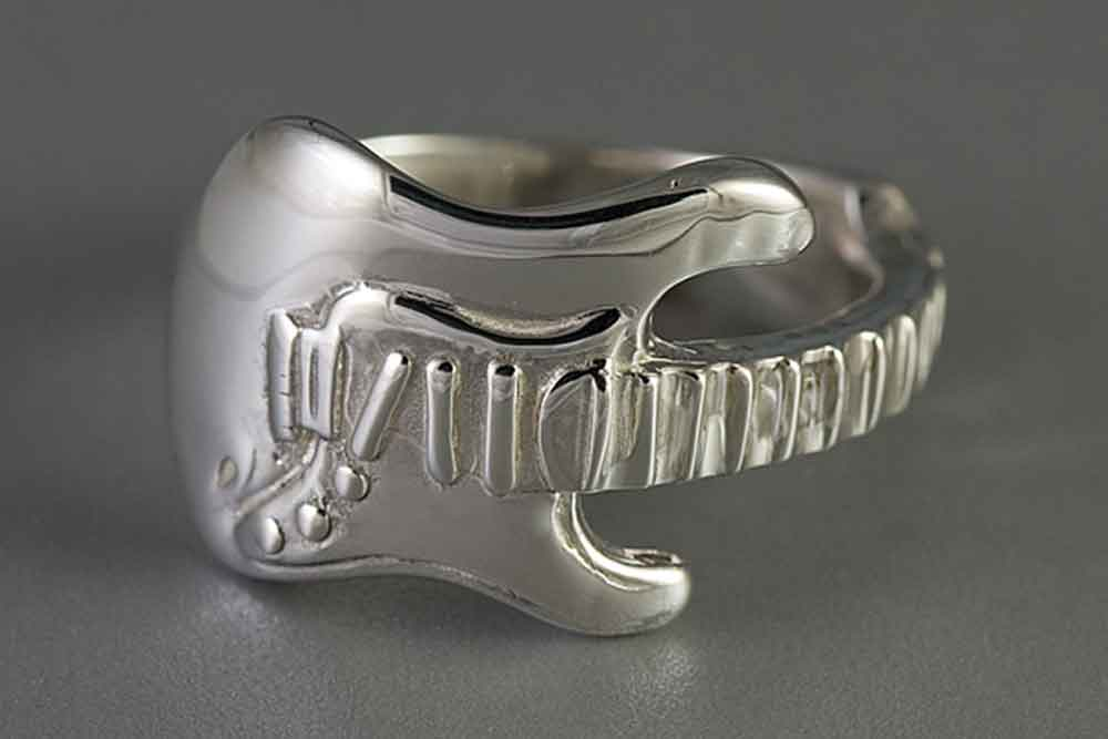 5f98234fc Buy Sterling Silver Electric Guitar Ring | Music Jewelry | Music Ring | -