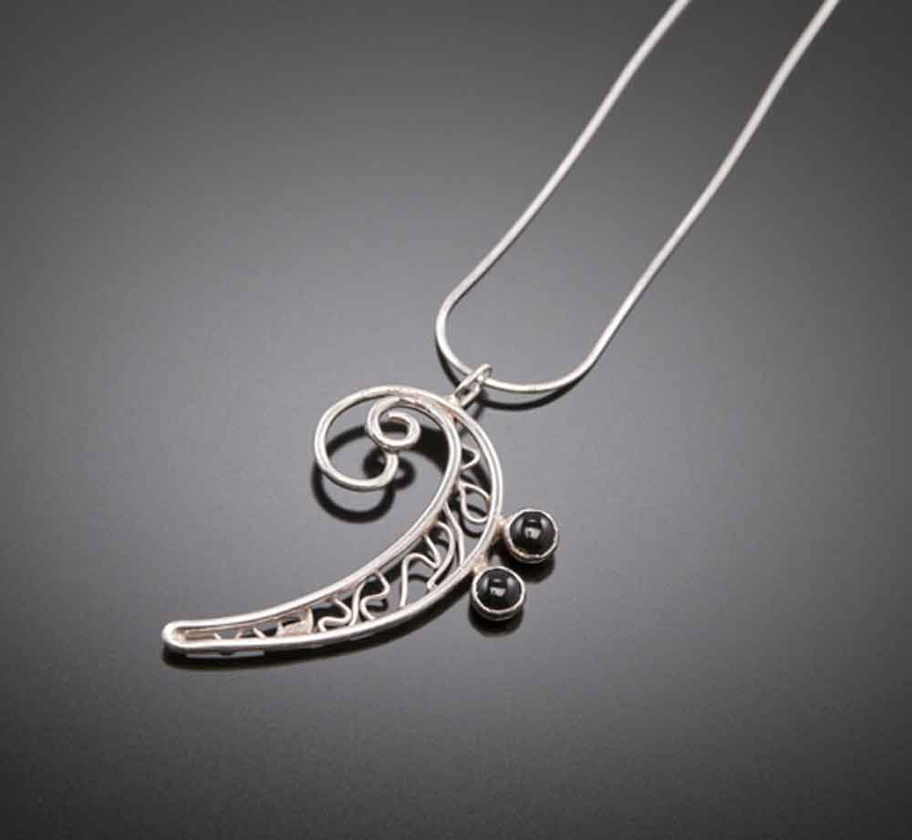 Buy sterling silver onyx bass clef pendant music jewelry music buy sterling silver onyx bass clef pendant music jewelry music necklace aloadofball Choice Image