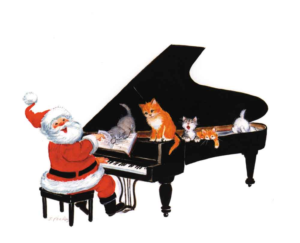 Buy SANTA AT PIANO XMAS CARDS | Music Stationery | Greeting Cards ...
