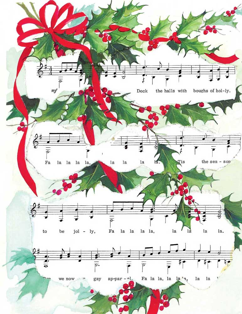 Buy DECK THE HALLS XMAS CARDS | Music Stationery | Greeting Cards ...