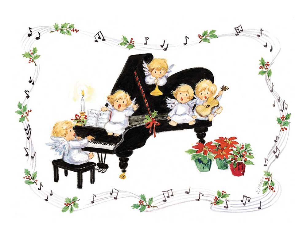 Buy Piano Angels Christmas Card | Music Stationery | Greeting ...