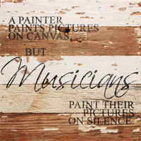 White Reclaimed Wood Wall Art: Musicians Paint on Silence