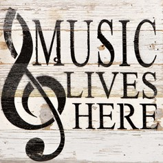 White Reclaimed Wood Wall Art: Music Lives Here